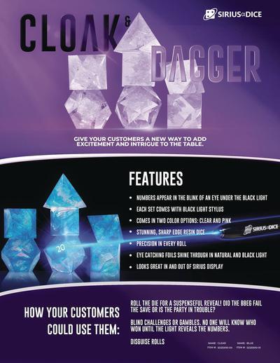 CLOAK & DAGGER RPG DICE SET BLUE