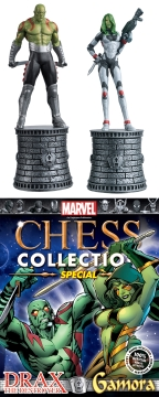 MARVEL CHESS FIG COLL MAG SPECIAL GAMORA & DRAXX ALT BISHOPS