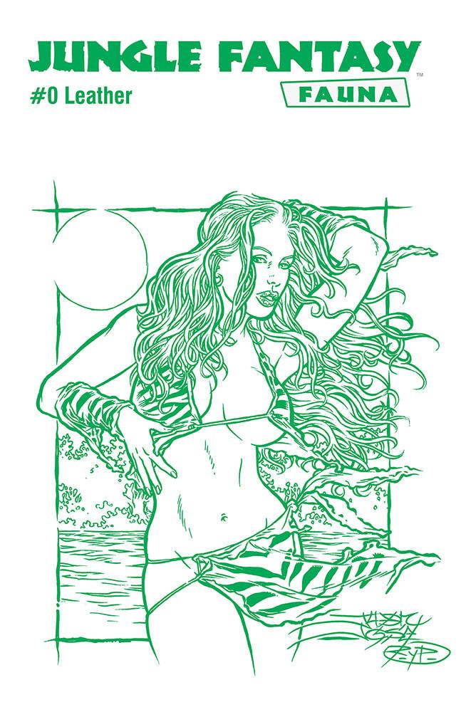 JUNGLE FANTASY FAUNA LEATHER JUNGLE GREEN VAR