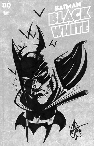 DF BATMAN BLACK & WHITE #1 HAESER SGN RMRK