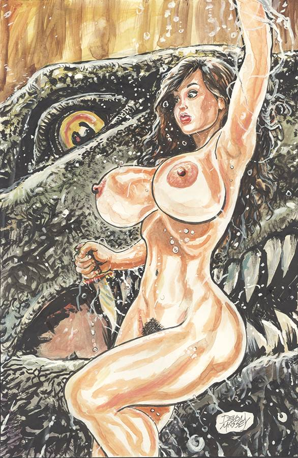 CAVEWOMAN GONE FISHING ONE SHOT CVR B MASSEY NUDE