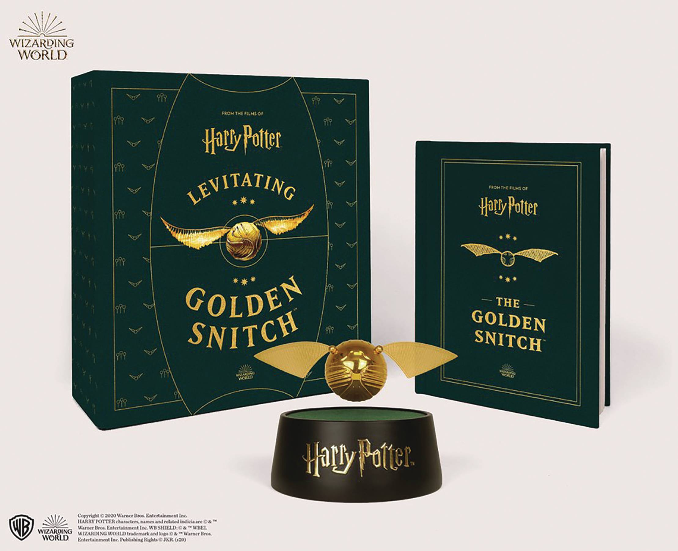HARRY POTTER LEVITATING GOLDEN SNITCH W BOOK