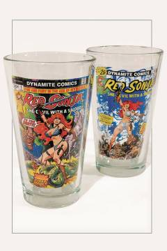 WOMEN OF DYNAMITE RED SONJA PINT GLASS 2PC SET