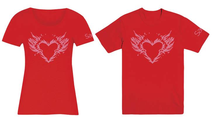 SAGA BURNING HEART WOMENS MED T/S