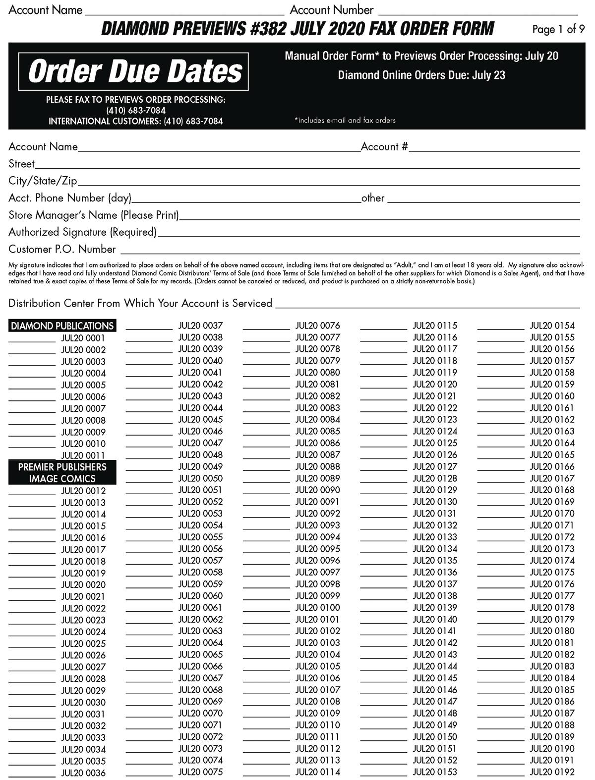 PREVIEWS FAX ORDER FORM